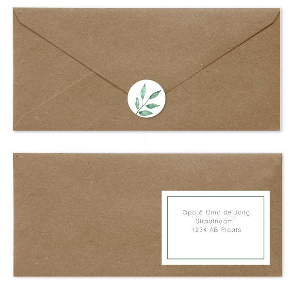 trouwkaart watercolor branch enveloppen