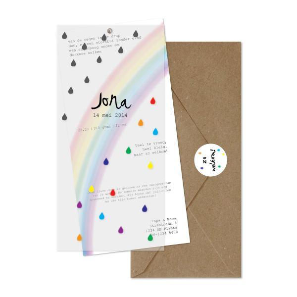geboortekaartje regenboog set
