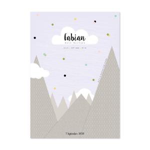 geboorteposter bergen met confetti