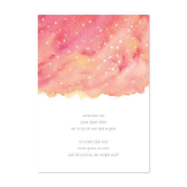persoonlijk kraamcadeau: poster welterusten zon sterrenbeeld roze