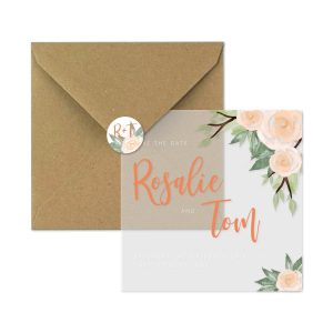 save-the-date kaart peachy rose set