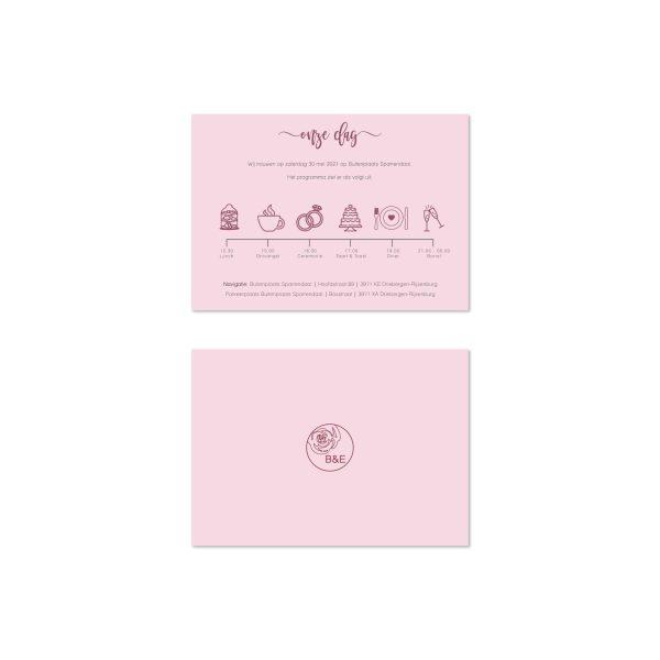 bijzondere trouwkaart la vie en rose dagprogramma