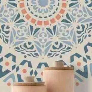 Muur stencil Mandala rose001 90 x 90