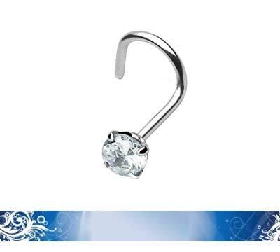 Piercing-Nez-courb-Acier-316LVM-Solitaire-serti-4-griffes-Crystal-0
