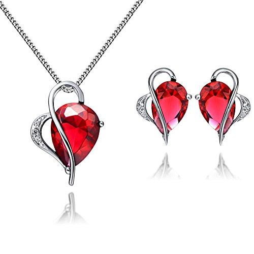 Floray-Femme-Bijoux-Parures-Rouge-Rubis-Zircon-pendentif-Collier-Stud-Boucle-doreille-Chane-en-argent-sterling-0
