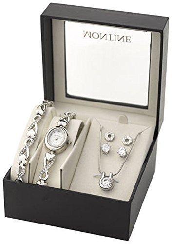 MONTINE-Montre-Coeur-Modle-Femme-Bracelet-Pendentif-et-2-Paires-Boucles-doreille-cristal-0