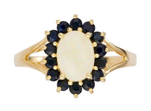 Bague-Femme-Or-jaune-9-cts-23-Gr-Opale-Saphir-T-565-0