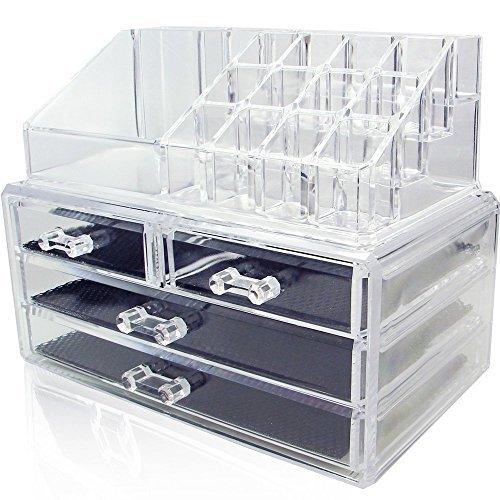 Amzdeal-Rangement-Maquillage-Vanity-case-Coffrets-Bijoux-Prsentoire-Cosmtiques-Quatre-Tiroirs-Bote-de-Rangement-Case--3-tage-16-emplacements-Acrylique-transparent-0