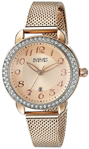 August-Steiner-Femme-Montre--quartz-avec-affichage-analogique-et-bracelet-en-acier-inoxydable-or-rose-cadran-or-rose-as8192rg-0