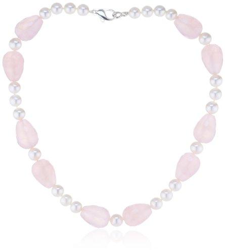 Nina-Exclusiv-jewelry-149-45-Collier-Femme-Argent-9251000-Quartz-rose-Perle-deau-douce-0