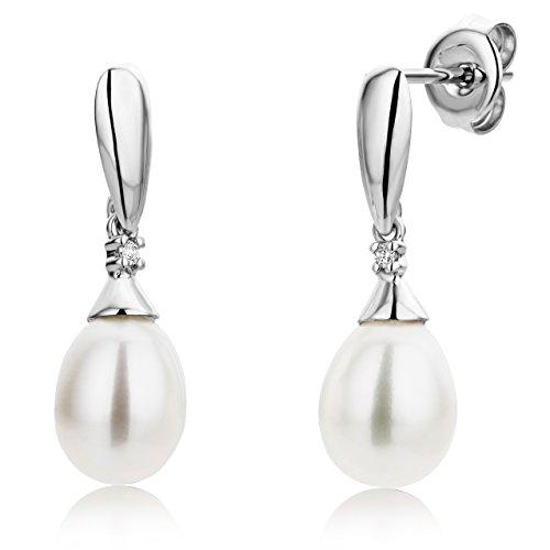 Miore-Boucles-dOreille-Femme-Or-blanc-9-Cts-Diamant-et-Perle-0