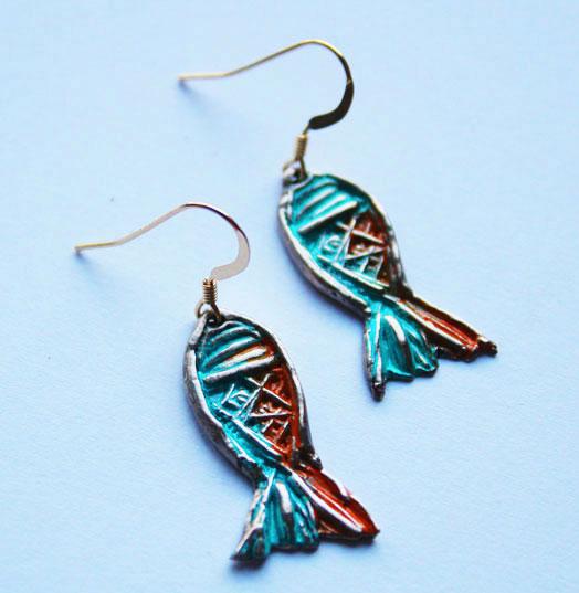 Boucles d'oreilles poissons bronze