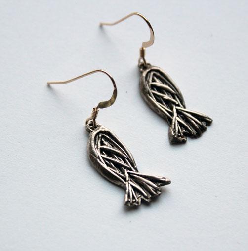 Boucles d'oreilles poissons texturisés bronze