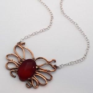 Collier papillon cornaline bronze