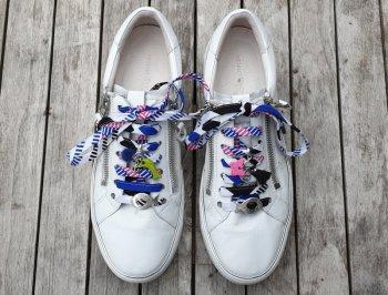 Lacet Wax bleu blanc rose