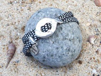 Bracelet cuir blanc et noir
