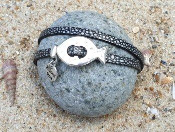 Bracelet cuir cellules grises