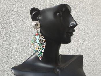 Boucle d'oreille clip multicolore