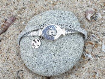 Bracelet cuir gris argenté