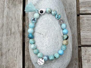 Bracelet élastique opale bleue péruvienne
