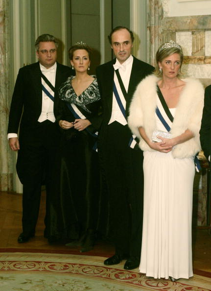 BRUSSELS, BELGIUM - OCTOBER 18: (L-R) Prince Laurent, Princess Claire, Prince Lorentz and Princess Astrid pose before the gala dinner at Laeken Castle October 18, 2005 in Brussels, Belgium. Portuguese President Jorge Sampaio and his wife Maria Jose Ritta are on a three-day visit to Belgium, with planned trips to Brussels, Arlon and Antwerp. (Photo by Mark Renders/Getty Images)
