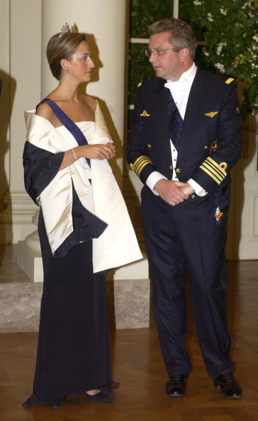 Prince Laurent & Princess Claire Of Belgium Attends A State Banquet At The Laeken Palace, Near Brussels, During A Norwegian State Visit To Belgium. (Photo by Julian Parker/UK Press via Getty Images)