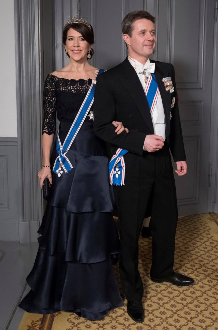 Their Royal Highnesses Crown Princess Mary and Crown Prince Frederik of Denmark arrive at the Gala Dinner for Iceland's President at Amalienbog Castle in Copenhagen, Denmark, January 24, 2017. Picture taken January 24, 2017. Scanpix Denmark/Stroyer Sisse/ via REUTERS ATTENTION EDITORS - THIS IMAGE WAS PROVIDED BY A THIRD PARTY. FOR EDITORIAL USE ONLY. NDENMARK OUT. NO COMMERCIAL OR EDITORIAL SALES IN DENMARK. - RTSX8I6