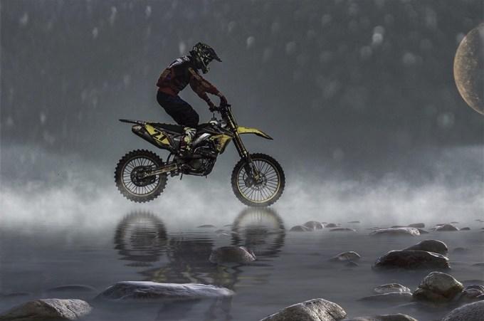 オートバイ バイク 水 石 月
