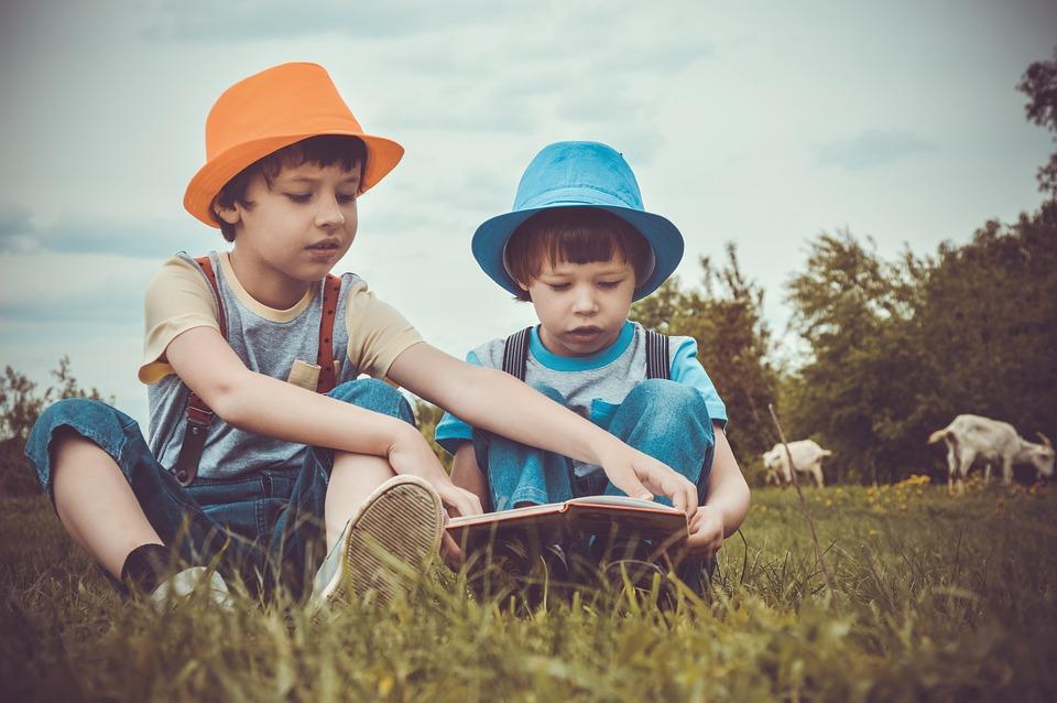 牧草地 夏 子供 読む 本 子どもたちを撮影 赤ちゃん 少年 子供の頃 家