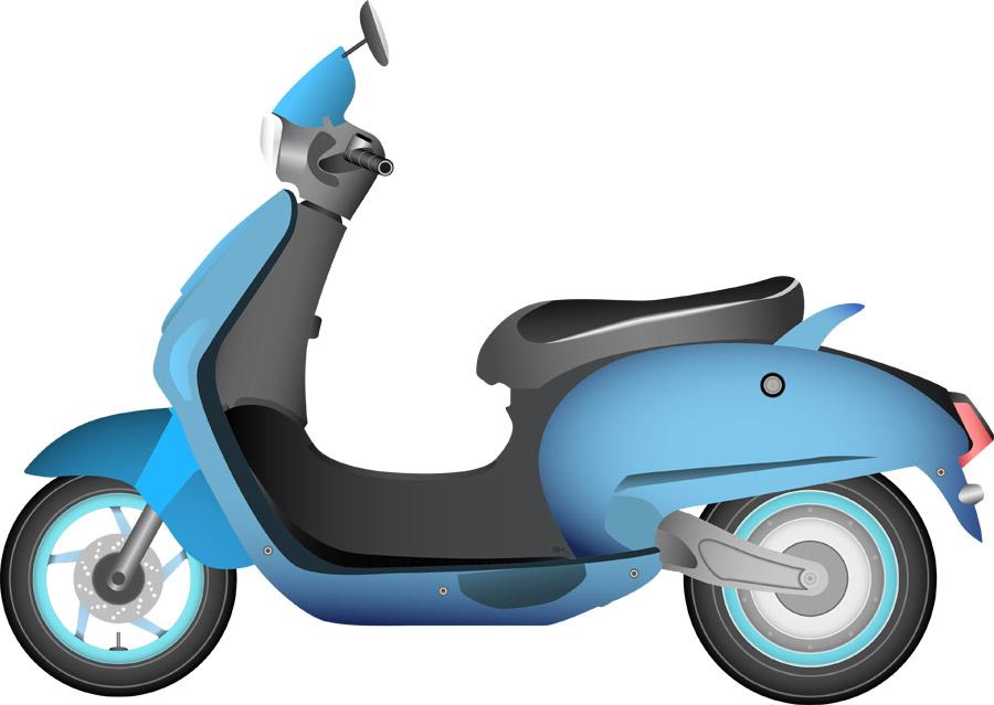 ライトブルーのスクーター