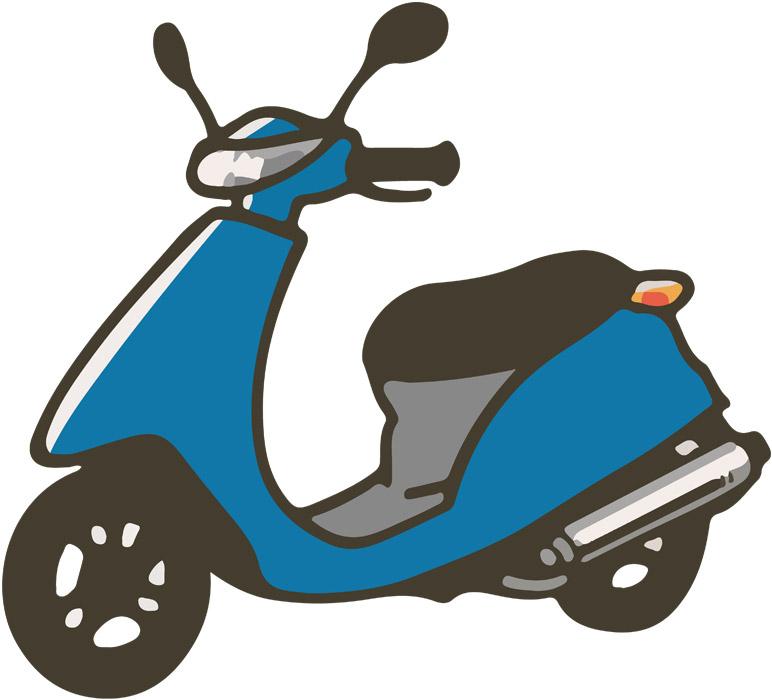 青い原付バイク