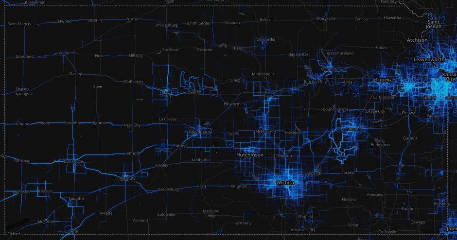 Strava Heatmap Kansas 2016-03