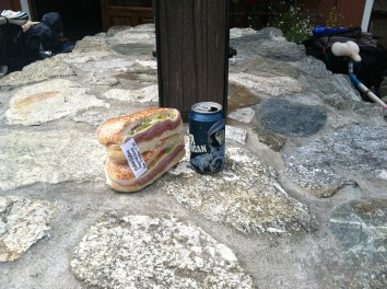 Big Sur lunch, fat sandwich and craft beer