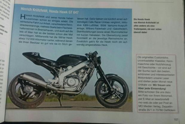 Beitrag über die Honda Hawk in der Zeitschrift MO