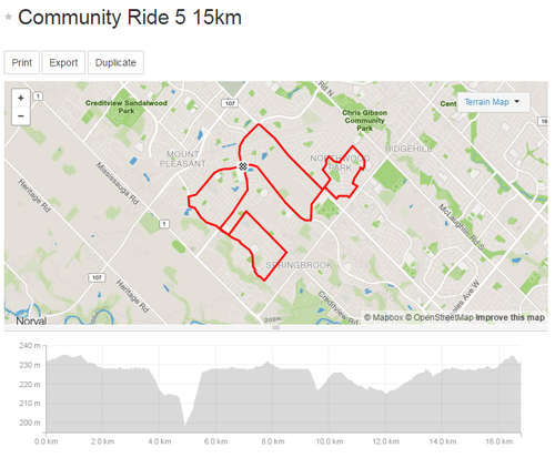 Community Ride 5 -15km Map