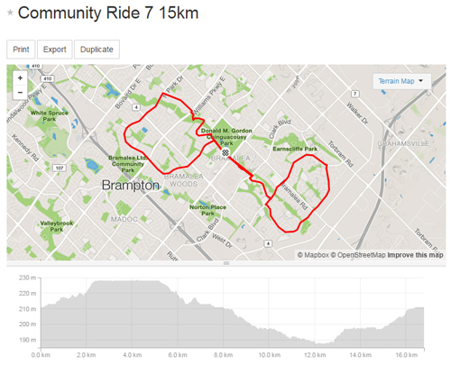 Community Ride 7 -15km Map