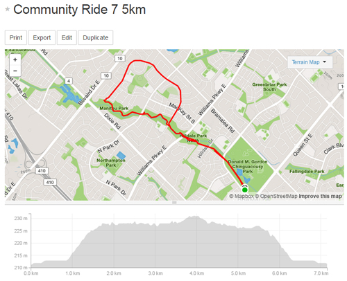 Community Ride 7 -5km Map