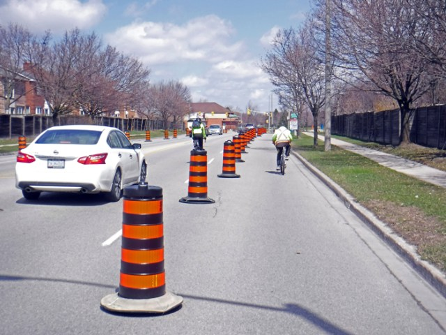 passing cyclist in COVID bike lane