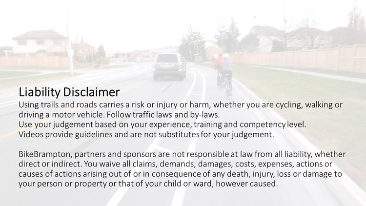 Safety Cycling Tips Disclaimer