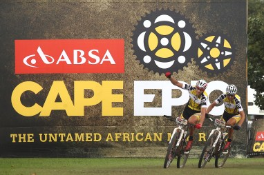 Jaroslav Kulhavy of Investec-Songo-Specialized celebrates winning the stage with his partner Christoph Sauser of Investec-Songo-Specialized during stage 2 of the 2015 Absa Cape Epic Mountain Bike stage race from Oak Valley Wine Estate in Elgin, South Africa on the 17 March 2015 Photo by Shaun Roy/Cape Epic/SPORTZPICS PLEASE ENSURE THE APPROPRIATE CREDIT IS GIVEN TO THE PHOTOGRAPHER AND SPORTZPICS ALONG WITH THE ABSA CAPE EPIC