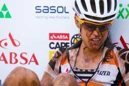 Ariane Kleinhans of Specialized recovers after stage 5 of the 2015 Absa Cape Epic Mountain Bike stage race held from HTS Drostdy in Worcester to the Cape Peninsula University of Technology in Wellington, South Africa on the 20 March 2015 Photo by Gary Perkin/Cape Epic/SPORTZPICS PLEASE ENSURE THE APPROPRIATE CREDIT IS GIVEN TO THE PHOTOGRAPHER AND SPORTZPICS ALONG WITH THE ABSA CAPE EPIC