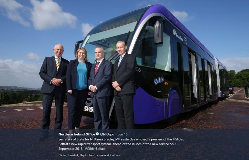 Northern Ireland Secretary of State Karen Bradley inspects a Glider bus