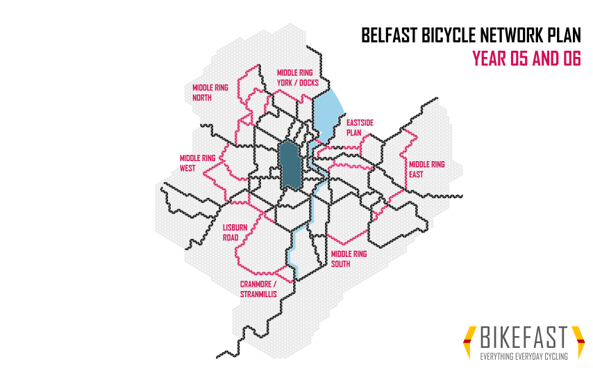 Proposed Belfast Bicycle Network development years 5 and 6
