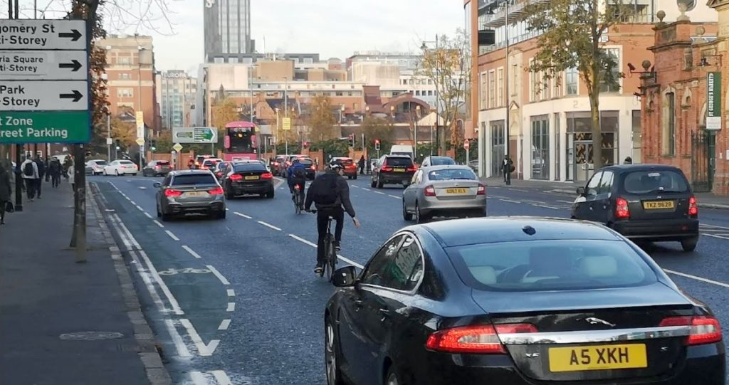 Cyclists negotiating the new East Bridge Street layout in Belfast