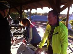 Volunteers helping at packet pick up