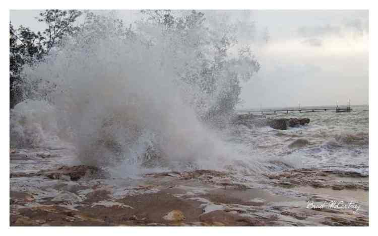 Nightcliff foreshore in Darwin when there is a combination of high tides and monsoonal storms
