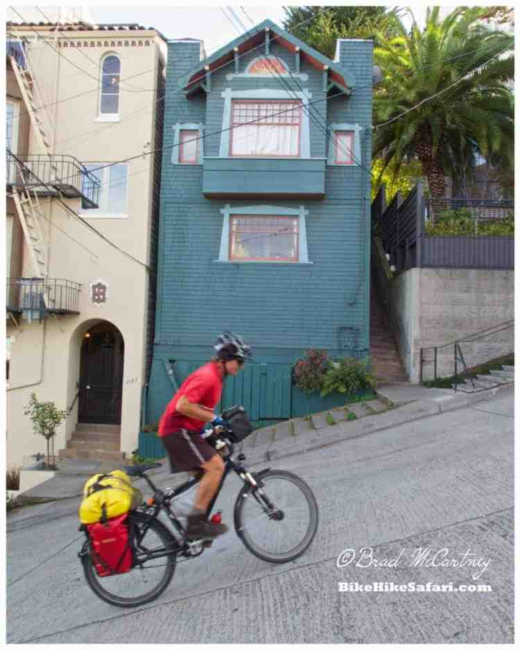 The steepest street in San Francisco, 38.5% grade! Low gear with 38 Teeth chainring