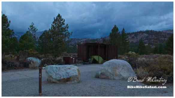 Angry weather in the mountains and my sheltered camp