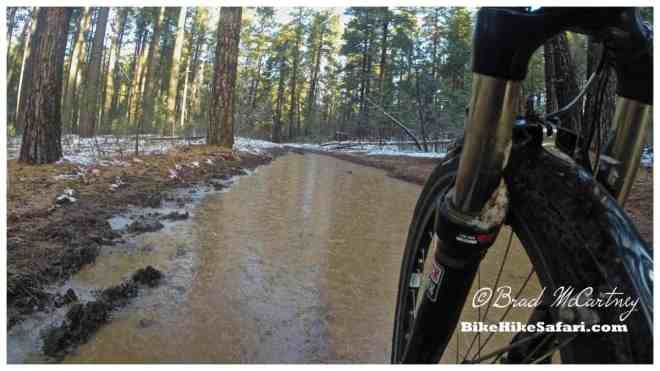Starting the day riding through the frozen mudhole