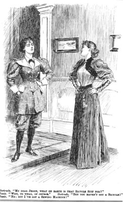 An example of bicycling garb versus the traditional clothing for women at the time.